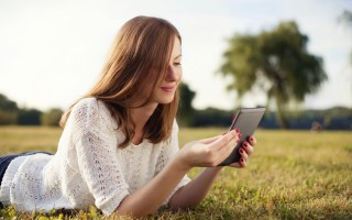 Young woman reading an eBook